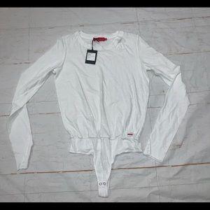 N:philanthropy white bodysuit destroyed long Slv